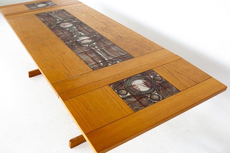Gangso Mobler Mid Century Teak Tile Top Dropside Dining Table For Sale 8