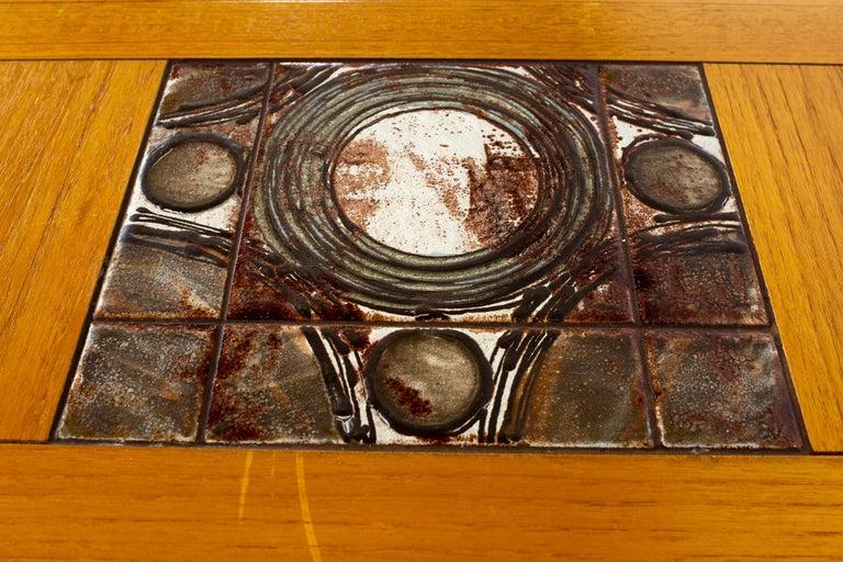 Gangso Mobler Mid Century Teak Tile Top Dropside Dining Table For Sale 9
