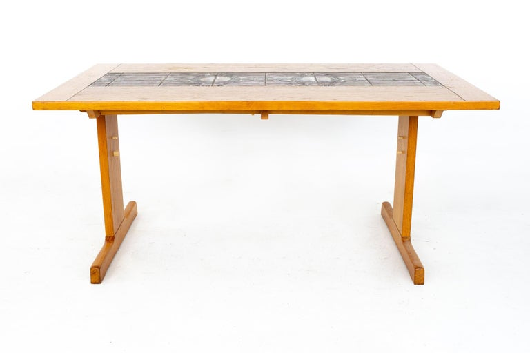 Mid-Century Modern Gangso Mobler Mid Century Teak Tile Top Dropside Dining Table For Sale