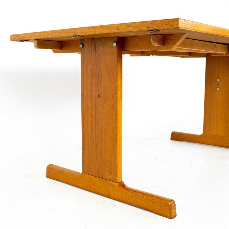 Danish Gangso Mobler Mid Century Teak Tile Top Dropside Dining Table For Sale