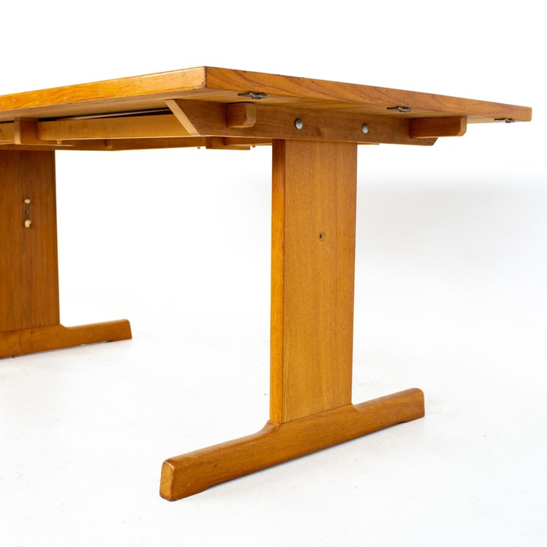 Gangso Mobler Mid Century Teak Tile Top Dropside Dining Table In Good Condition For Sale In La Grange, IL
