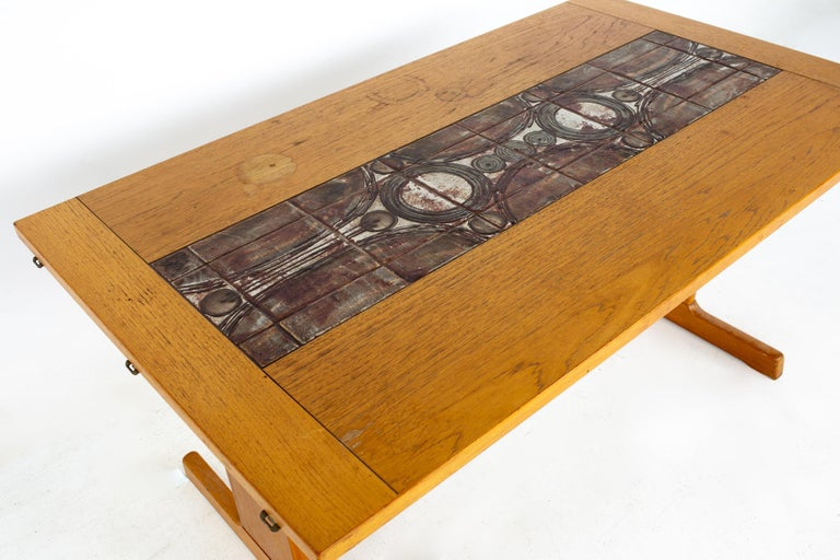 Late 20th Century Gangso Mobler Mid Century Teak Tile Top Dropside Dining Table For Sale