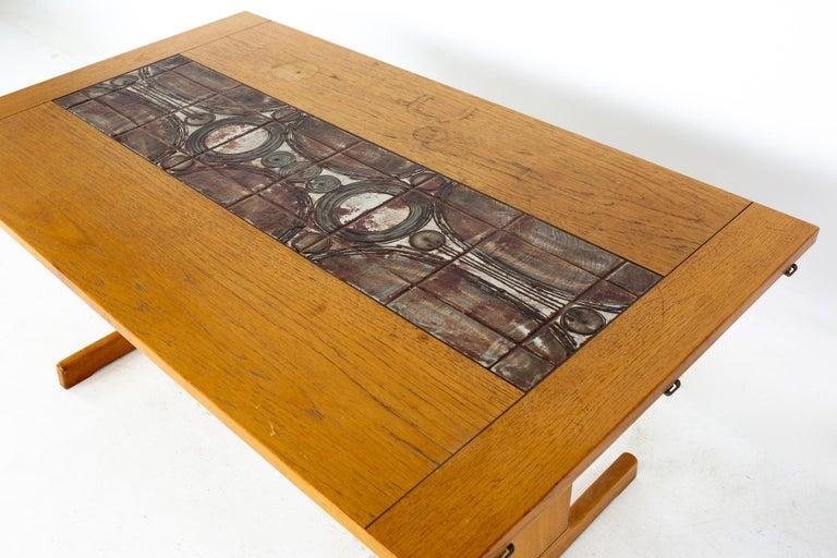 Ceramic Gangso Mobler Mid Century Teak Tile Top Dropside Dining Table For Sale
