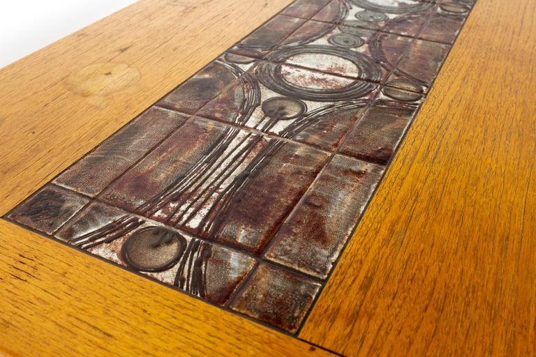 Gangso Mobler Mid Century Teak Tile Top Dropside Dining Table For Sale 2