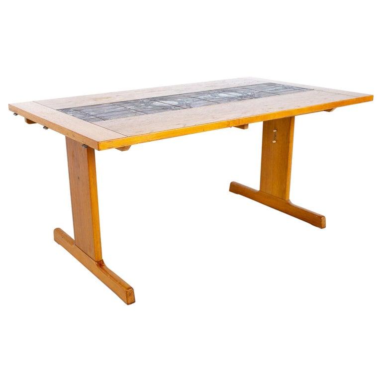 Gangso Mobler Mid Century Teak Tile Top Dropside Dining Table For Sale