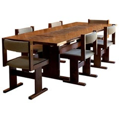 Gangso Mobler Rosewood Dining Table and Six Chairs Poul H. Poulsen Denmark