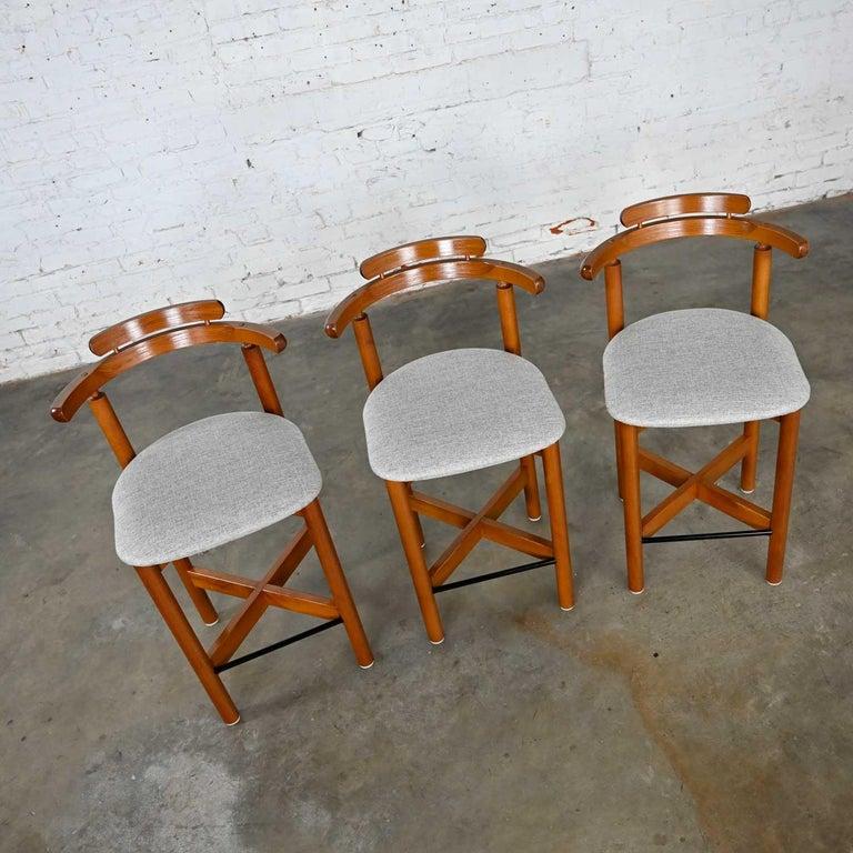 Gangso Mobler Scandinavian Modern Teak Counter Height Barstools Set of 3 4