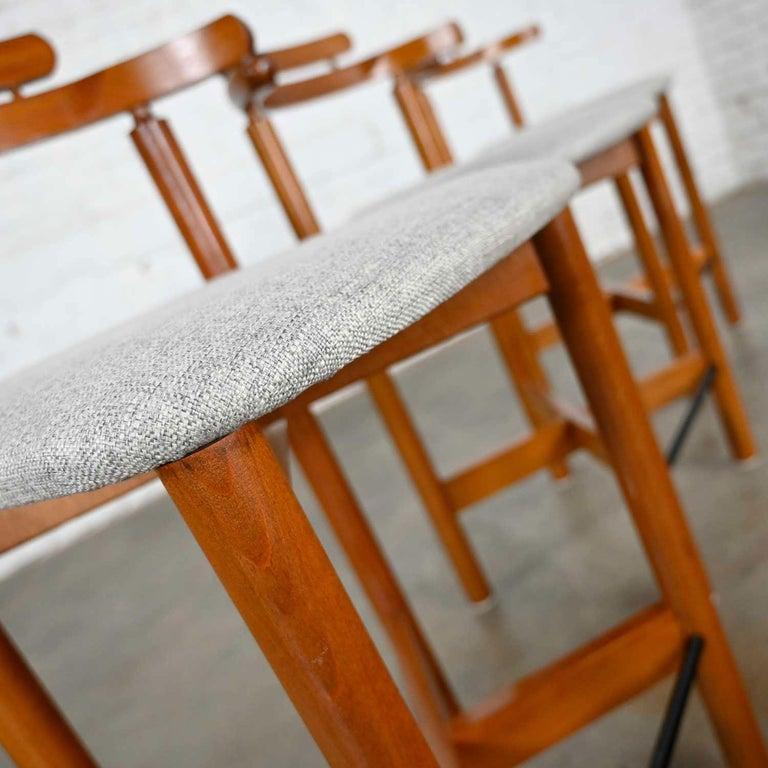 Gangso Mobler Scandinavian Modern Teak Counter Height Barstools Set of 3 5