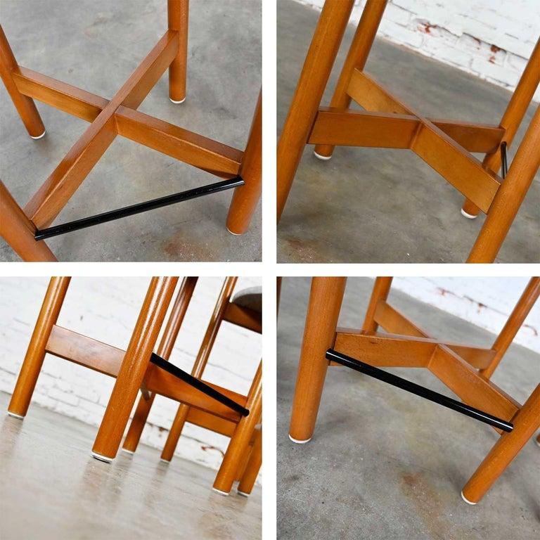Gangso Mobler Scandinavian Modern Teak Counter Height Barstools Set of 3 12