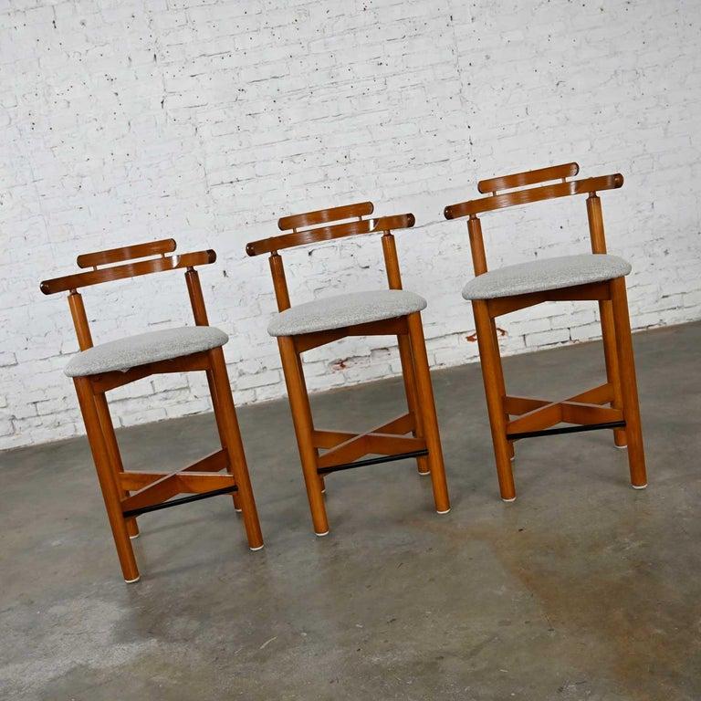 Danish Gangso Mobler Scandinavian Modern Teak Counter Height Barstools Set of 3