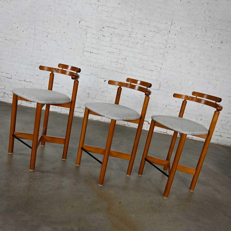 20th Century Gangso Mobler Scandinavian Modern Teak Counter Height Barstools Set of 3