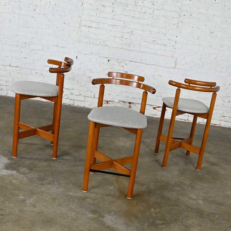 Fabric Gangso Mobler Scandinavian Modern Teak Counter Height Barstools Set of 3