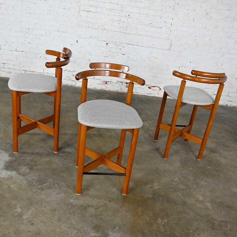Gangso Mobler Scandinavian Modern Teak Counter Height Barstools Set of 3 1