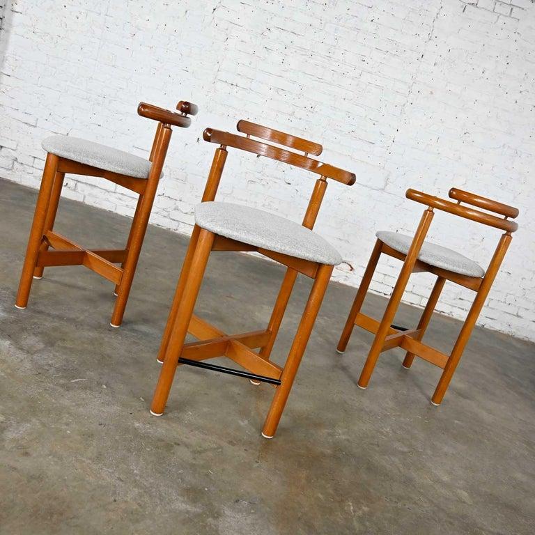 Gangso Mobler Scandinavian Modern Teak Counter Height Barstools Set of 3 2
