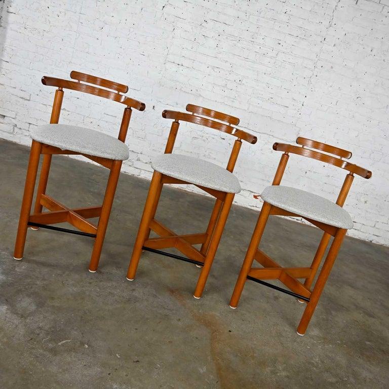 Gangso Mobler Scandinavian Modern Teak Counter Height Barstools Set of 3 3