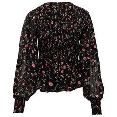 Ganni Black & Multicolor Floral Print Poet Sleeve Blouse