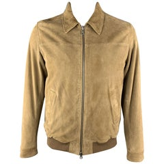GANT L Tan Suede Zip Up Slit Pockets Buttoned Cuffs Bomber Style Jacket