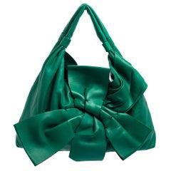 Garavani Green Nappa Leather Large Front Bow Hobo