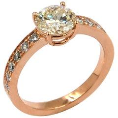 Garavelli 18 Karat Rose Gold Diamonds Engagement Ring