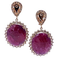 Garavelli 18 Karat Rose Gold Massive Red Sapphire and Brown Diamond Earrings