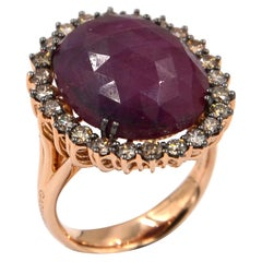 Garavelli 18 Karat Rose Gold Massive Ruby Corundum and Brown Diamond Ring