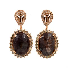 Garavelli 18 Karat Rose Gold Massive Sapphire and Brown Diamond Earrings