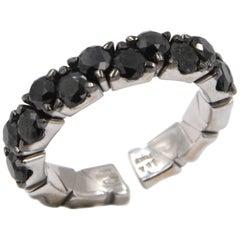 Garavelli 18 Karat White Gold Black Diamonds Coil Ring