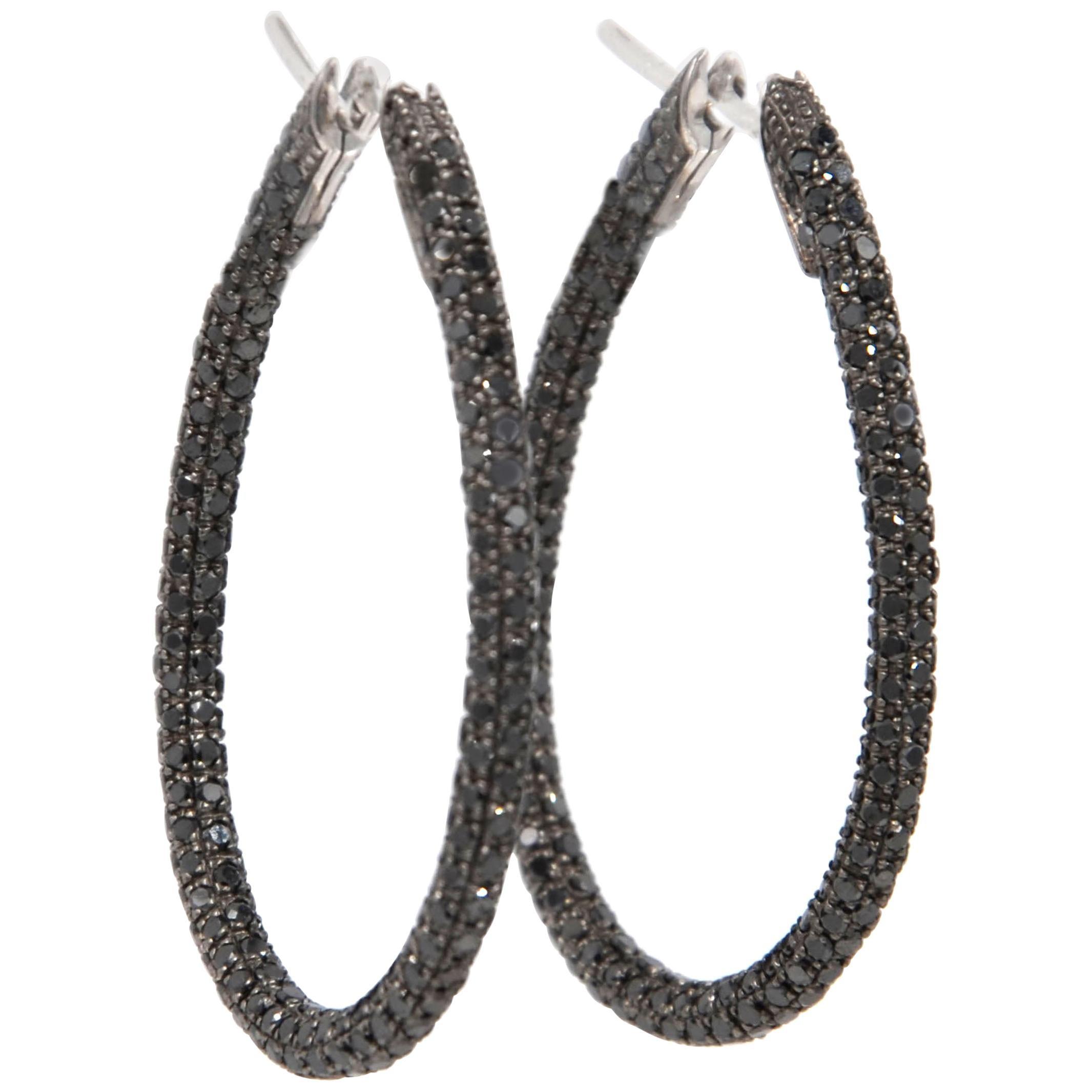 Garavelli 18 Karat White Gold Black Diamonds Stilish Large Drop Hoops Earrings