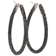 Garavelli 18 Karat White Gold Black Diamonds Stilish Large Drop Hoops Earrings