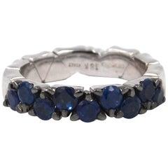 Garavelli 18 Karat White Gold Blue Sapphires Coil Ring