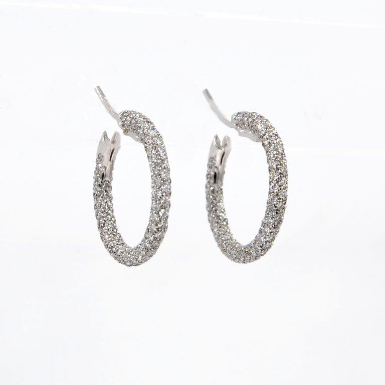 Contemporary Garavelli 18 Karat White Gold Diamond Eternity Hoop Earrings For Sale