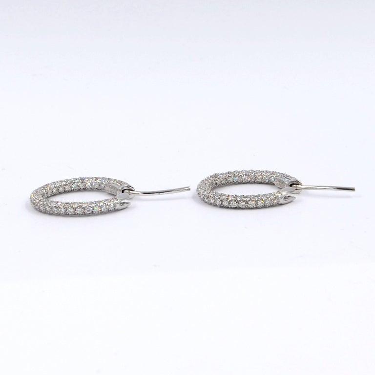 Round Cut Garavelli 18 Karat White Gold Diamond Eternity Hoop Earrings For Sale