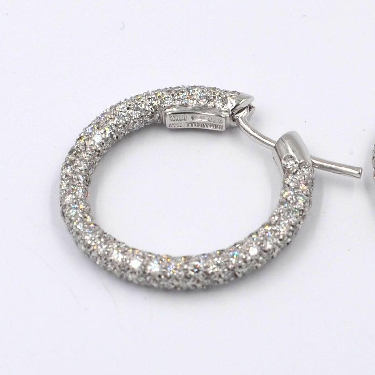 Women's Garavelli 18 Karat White Gold Diamond Eternity Hoop Earrings For Sale