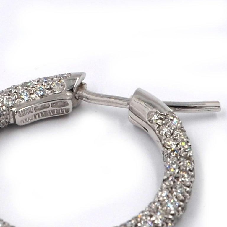 Garavelli 18 Karat White Gold Diamond Eternity Hoop Earrings For Sale 1