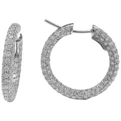 Garavelli 18 Karat White Gold Diamond Eternity Hoop Earrings