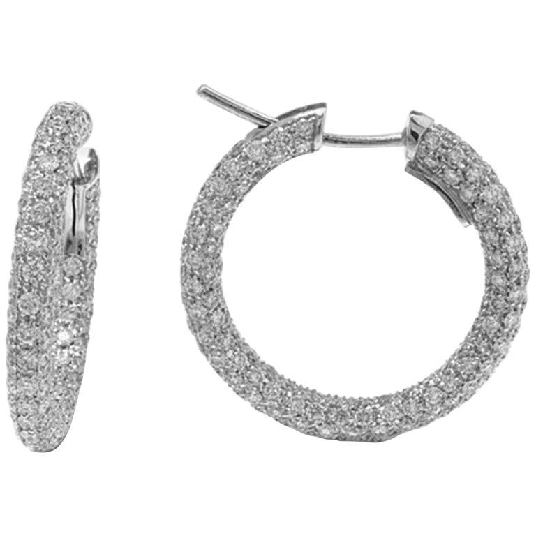 Garavelli 18 Karat White Gold Diamond Eternity Hoop Earrings For Sale