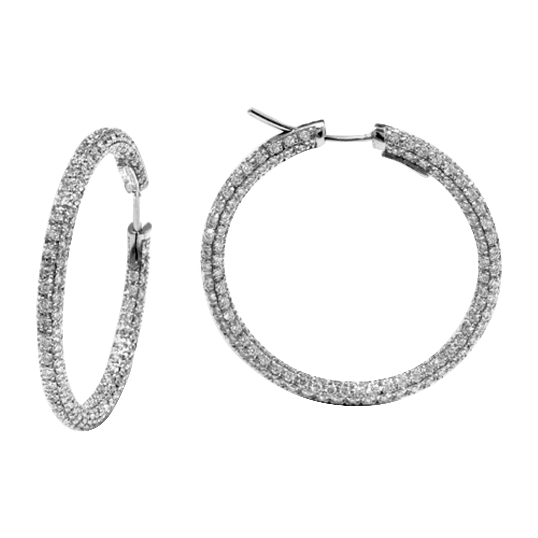 Garavelli 18 Karat White Gold Diamond Eternity Hoop Earrings