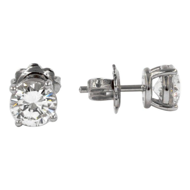 Garavelli 18 Karat White Gold Diamonds Stud Earrings For Sale