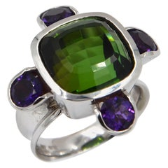 Garavelli 18 Karat White Gold Green Tourmaliine and Amethysts Ring