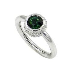 Garavelli 18 Karat White Gold Green Tourmaline White Diamond Giotto Ring
