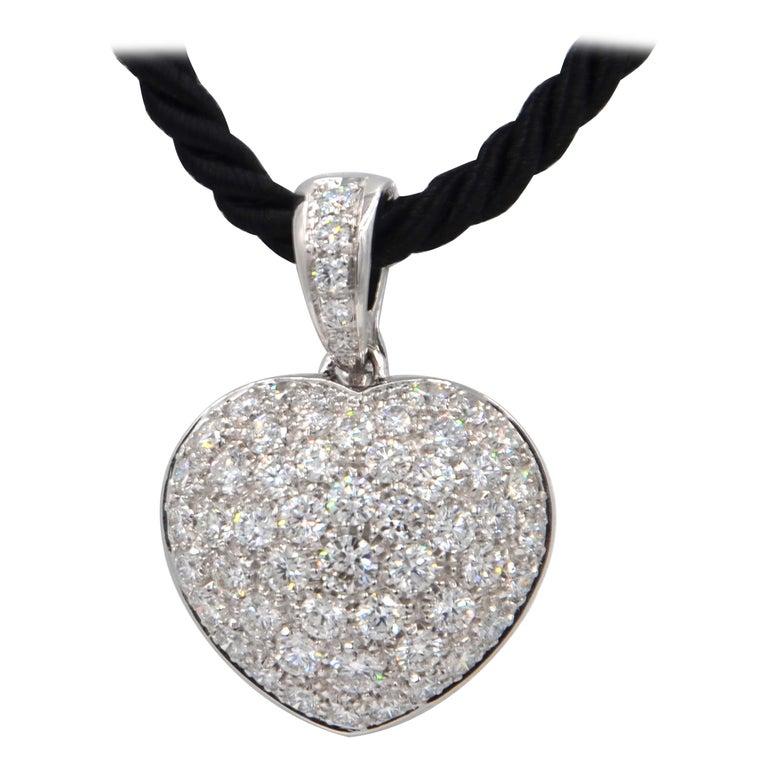 Garavelli 18 Karat White Gold Pavè Diamond Puffed Heart Pendant For Sale