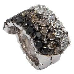 Garavelli 18 Karat White Gold Tricolor Diamonds Coil Ring