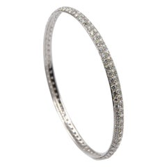 Garavelli 18 Karat White Gold White Diamonds Slip on Bangle Bracelet