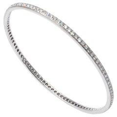 Garavelli 18 Karat White Gold White Diamonds Slip on Bangle Bracelet