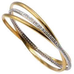 Garavelli 18 Karat Yellow and White Gold White Diamonds Rolling Bangle Bracelet