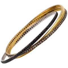 Garavelli 18 Karat Yellow Gold Black Brown Diamonds Rolling Bangle Bracelet