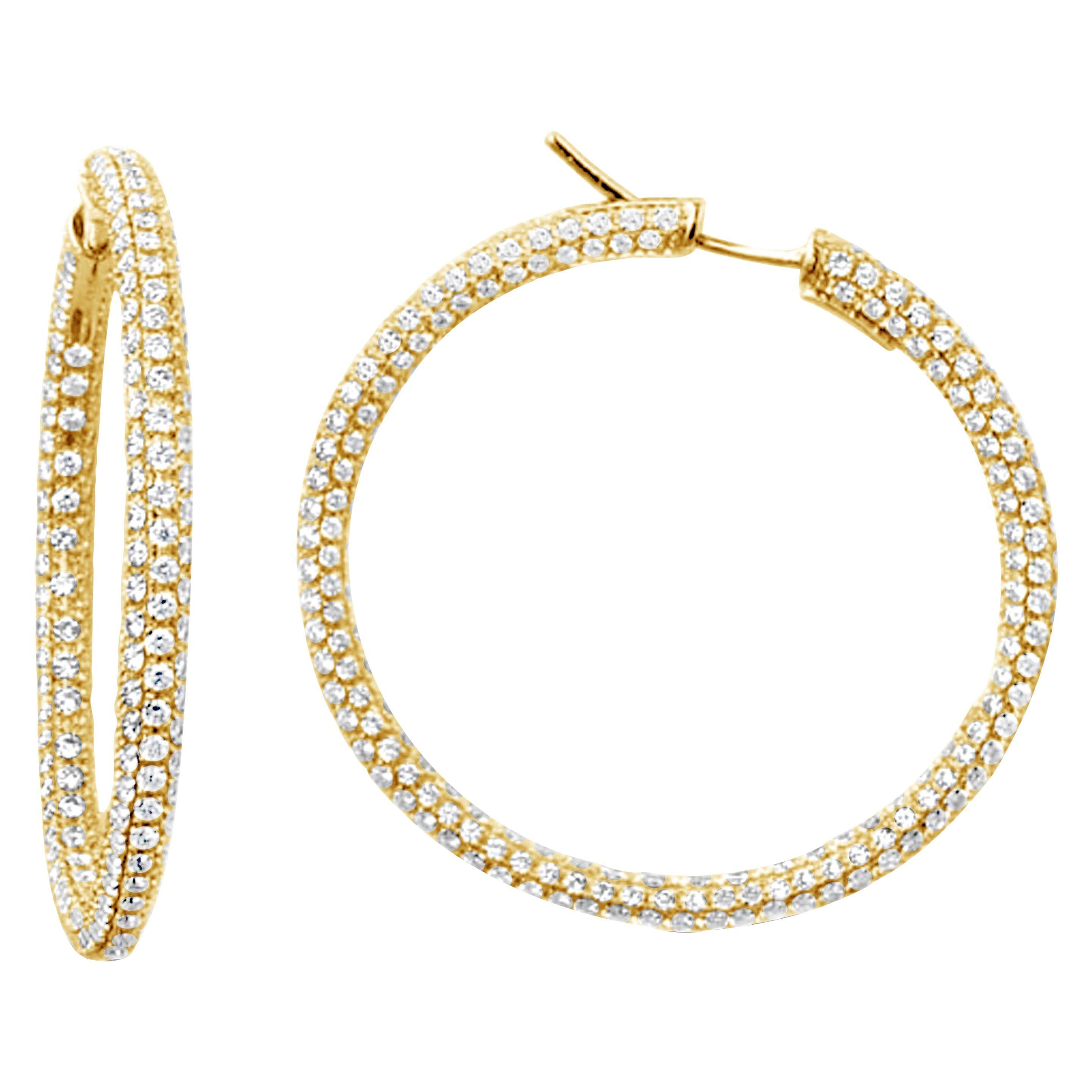 Garavelli 18 Karat Yellow Gold Diamond Eternity Hoop Earrings