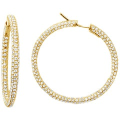 Garavelli 18 Karat Yellow Gold Diamond Eternity Hoop Earrings