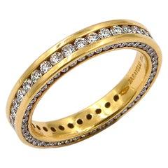 Garavelli 18 Karat Yellow Gold Diamonds Eternity Band Ring
