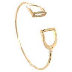 Garavelli 18 Karat Yellow Gold Diamonds Stirrups Collection Bracelet